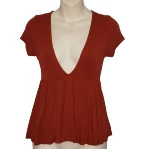 UO burnt orange deep ribbed V baby doll top small